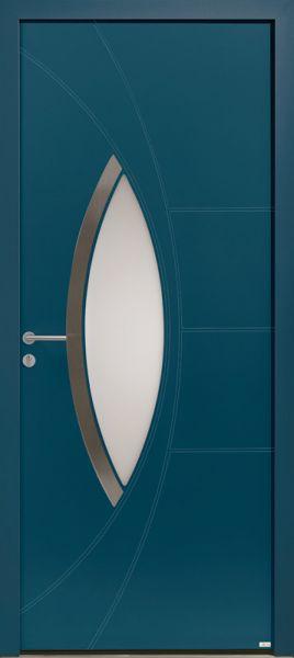 Porte d'entrée aluminium Antalya-15, bleu 2700 texturé