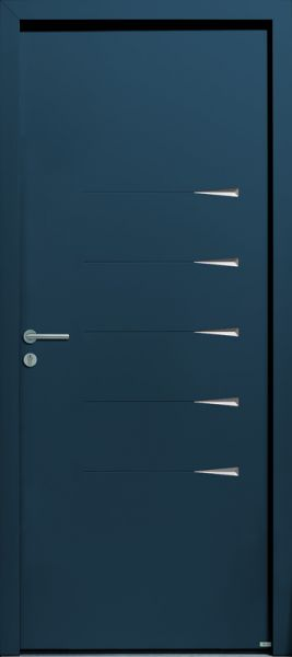 Griff 2 face extérieure, RAL 5009 (option). Décors gris Anodic exclusivement, face intérieure rainurée en standard.