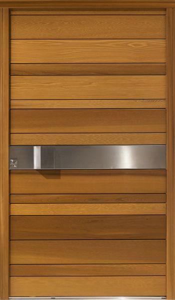 Nativ 2 face extérieure, couleur Miel, largeur 120. La clé est nécessaire pour ouvrir la porte depuis l'extérieur.
